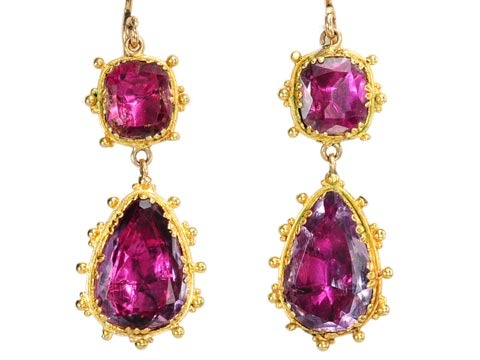 """Mise-en-Scène"" Georgian Amethyst Drop Earrings"