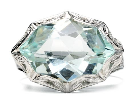 White Lace: Art Deco Aquamarine Ring