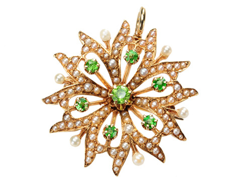 Edwardian Blossom: Demantoid Pearl Brooch Pendant