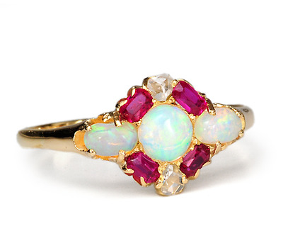 Antique Ruby Opal & Diamond Ring
