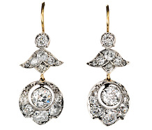 Victorian Antique Diamond Pendant Earrings