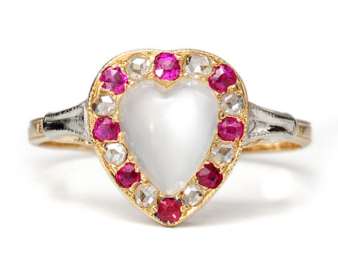 Edwardian Hearts: Moonstone Diamond & Ruby Ring