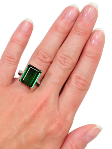 Grand Green Tourmaline Estate Ring