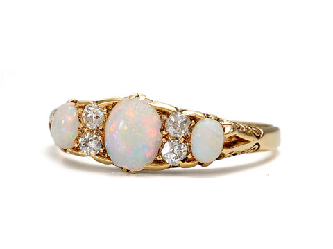 Antique Fire & Ice: Opal Diamond Ring