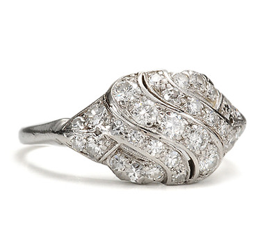 Mid Century Swirl: Diamond Platinum Ring