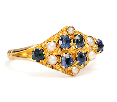 Victorian Antique Sapphire & Pearl Ring