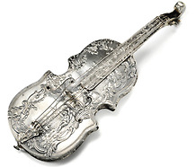 Antique Musical Instrument Silver Perfume Bottle