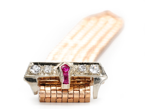 Retro Diamond  Ruby  Buckle Ring