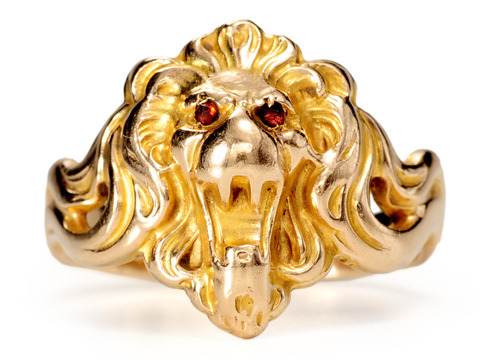 Kroll & Co. Art Nouveau Gold Lion Ring