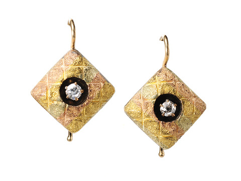 Victorian Tri Color Gold Diamond Earrings