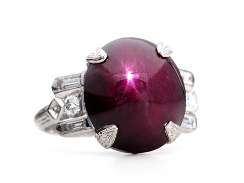 Star Light in a 14 c. Star Ruby  Diamond Ring
