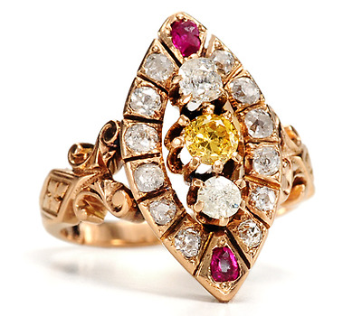 Fancy Yellow Diamond Victorian Ring