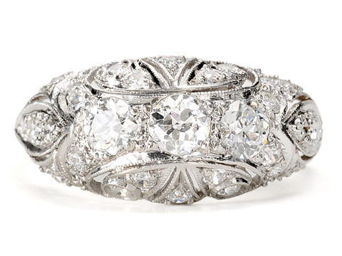 Early 20th C. Diamond Platinum Dome Ring