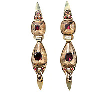 Antique 18th C. Spanish Garnet Earrings
