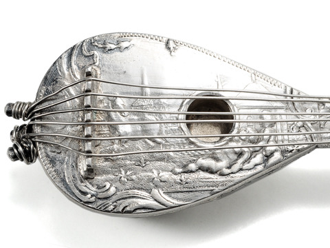 19th C. Dutch Silver Mandolin Perfume Bottle