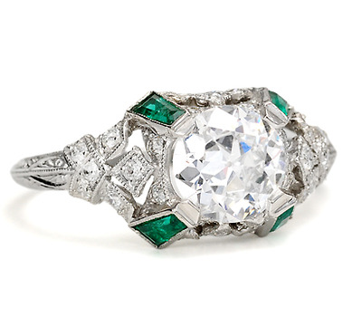 Spectacular E-F 1.10 c. Diamond Emerald Ring