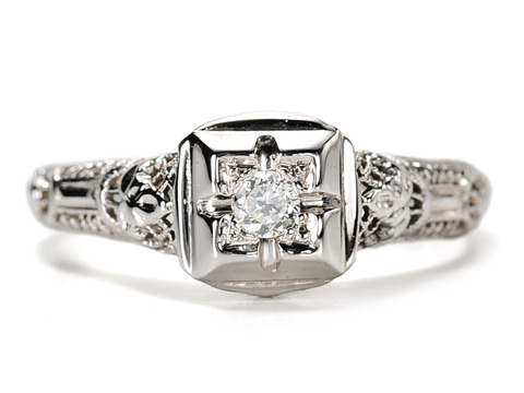1940s Filigree Diamond Engagement Ring