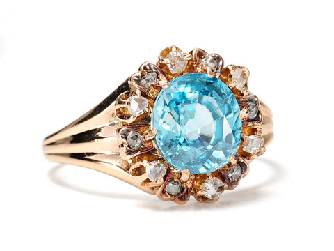 Blue Skies: Antique Zircon Diamond Ring
