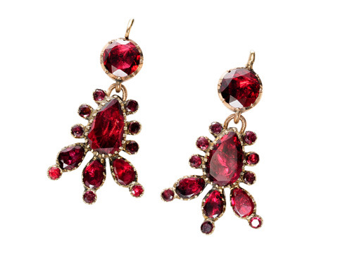 Georgian Brilliance: Almandine Garnet Drop Earrings