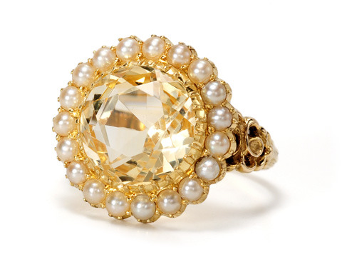 Victorian Tart: Citrine & Pearl Cluster Ring