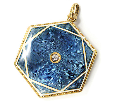 Exquisite Antique Guilloché Enamel Locket Pendant