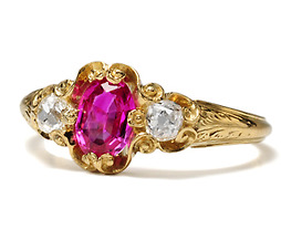 Vivid Victorian Glamour: Ruby Diamond Ring