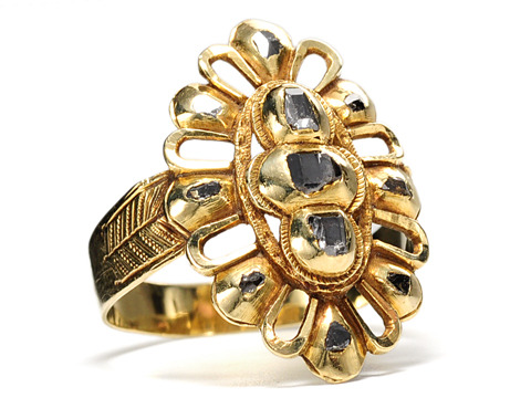 Spanish Gold: 18th C. Table Cut Diamond Ring