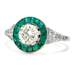Argentine Target Ring of Diamonds & Emeralds
