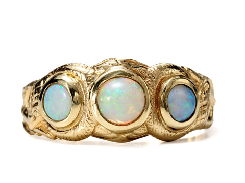 Watery Serpents: Edwardian Opal Snake Ring