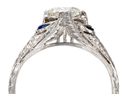 Art Deco Diamond & Sapphires in a Platinum Ring