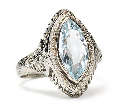 Aquamarine Filigree Estate Ring