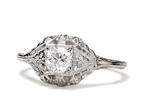 Filigree & Frills: Art Deco Diamond Ring