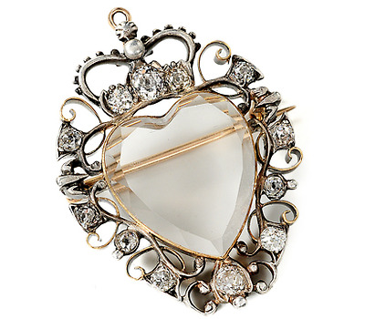 18th C. Mary Queen of Scots Diamond Pendant Brooch