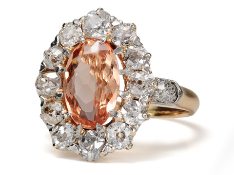 Antique Imperial Topaz Diamond Cluster Ring