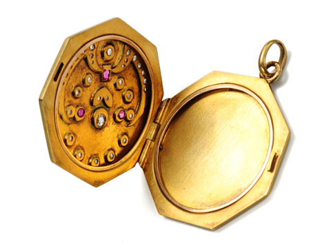Antique Solid Gold Diamond Ruby Locket