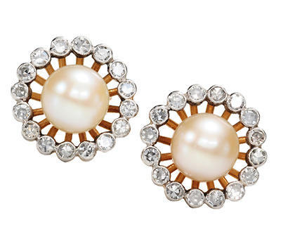 Diamond & Pearl Art Deco Earrings