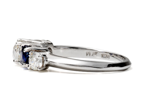 Exclamations! Art Deco Diamond Sapphire Ring