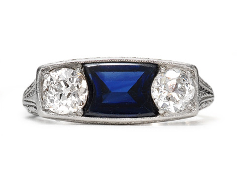 Art Deco Dramatic Sapphire Diamond Ring