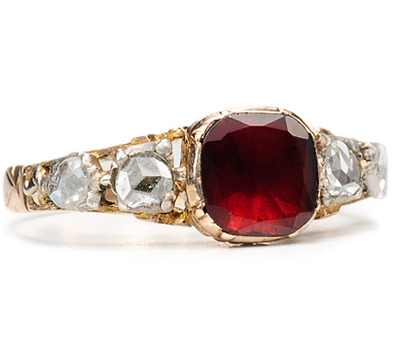 18th C. Georgian Silver & Gold Garnet Ring