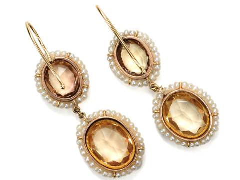 Georgian Gems: Topaz & Seed Pearl Earrings