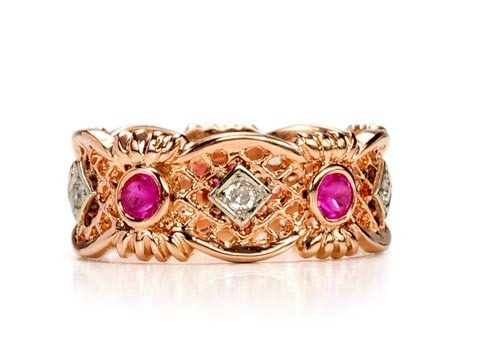 Forever Bliss: Diamond & Ruby Wedding Eternity Band