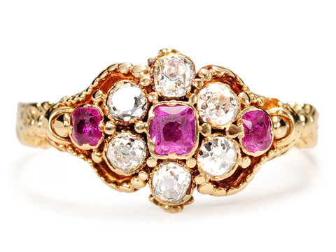 Antique Mystery: 19th C. Ruby Diamond Cluster Ring