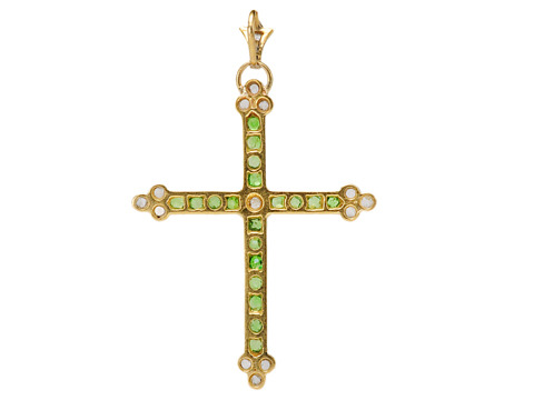 19th C. Demantoid Garnet & Diamond Cross