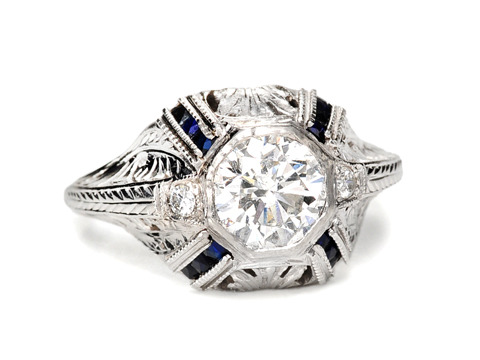 20th C. Platinum Diamond Sapphire Ring