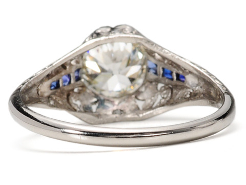 Art Deco 1.35 c. Diamond  Sapphire Engagement Ring