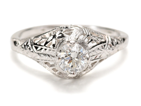 Filigree & Flowers in a Diamond Engagement Ring