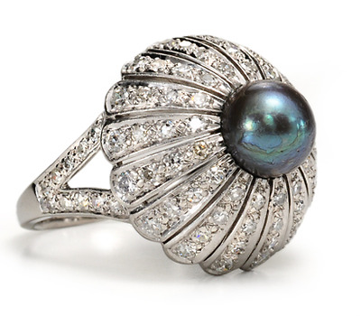 The Elusive Black Pearl & Diamond Dome Ring