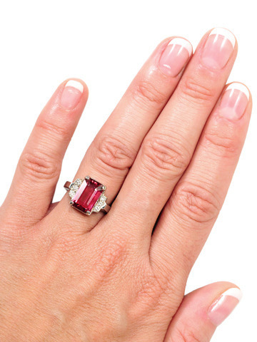 Raspberry Ice: Pink Tourmaline & Diamond Estate Ring