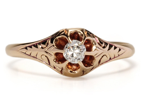 Victorian Buttercup Set Solitaire Diamond Ring