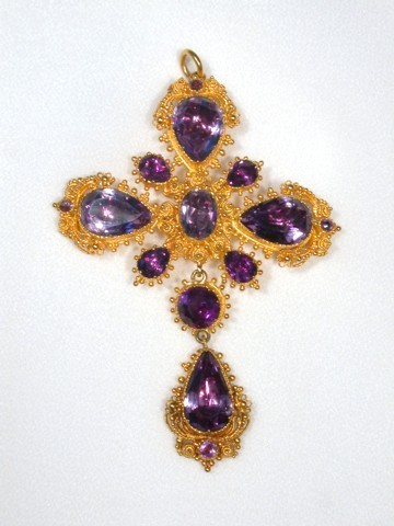Antique Cannetille Gold & Amethyst Cross Pendant
